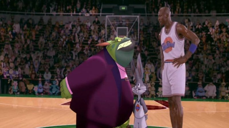 Swackhammer, Bugs Bunny, and Michael Jordan in Space Jam.