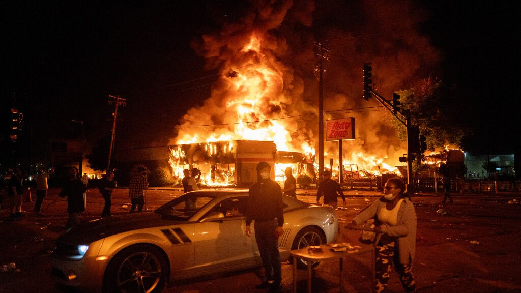 During a second night of violent protests in south Minneapolis, many businesses were looted and some were in flames early today.