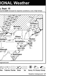 This is the Weather Underground forecast for Saturday, Sept. 15, 2012 for the eastern region of the U.S.