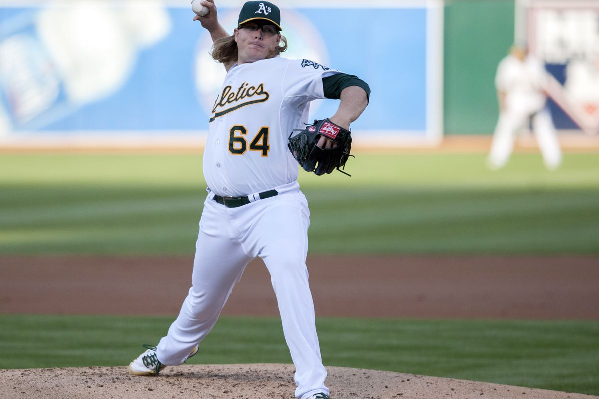AJ is keeping the A's in it - but that's not saying much tonight.