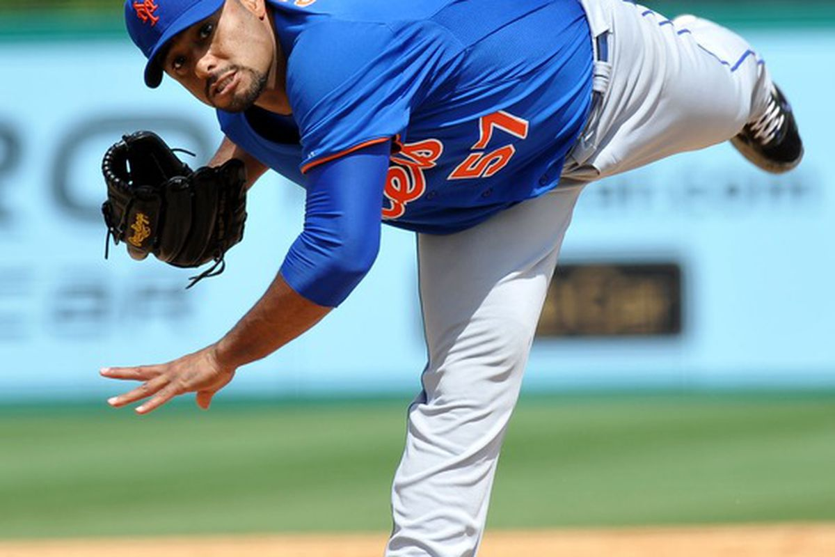 March 21, 2012; Jupiter, FL, USA; New York Mets starting pitcher Johan Santana (57) throws in the sixth inning against the St. Louis Cardinals during a spring training game at Roger Dean Stadium. Mandatory Credit: Steve Mitchell-US PRESSWIRE