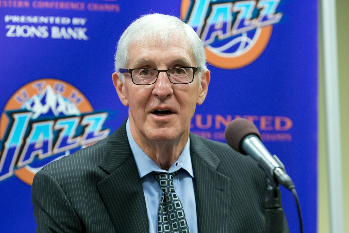 Former Utah Jazz head coach Jerry Sloan talks with the media as part of a celebration of the 20th anniversary of the franchise s first Western Conference Championship prior to the game against the New York Knicks at Vivint Smart Home Arena.
