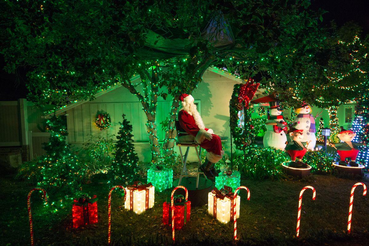 Closer view of Santa and lights