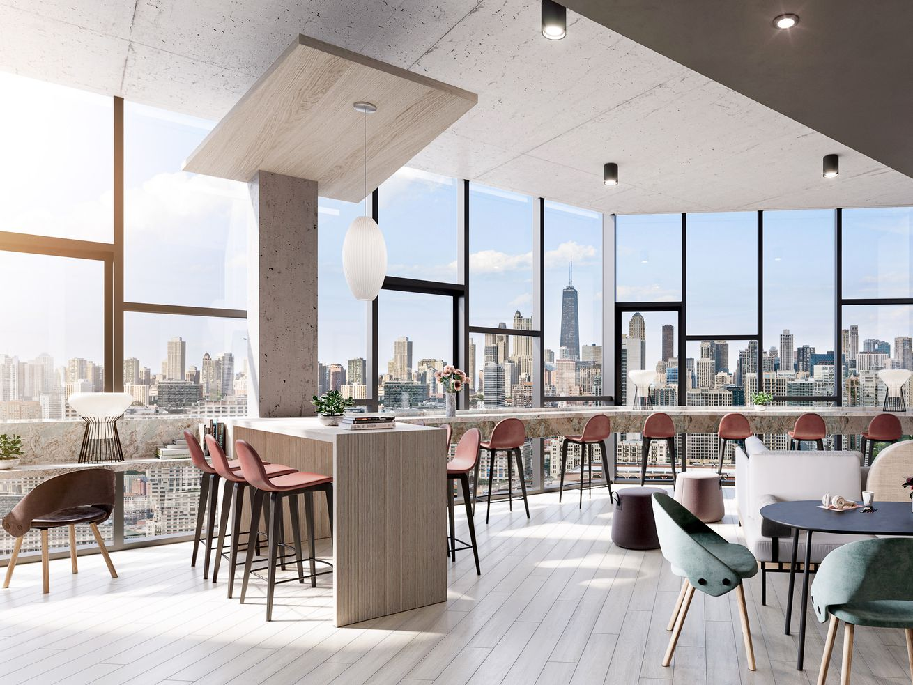 A room with a glass wall overlooking the Chicago skyline. Inside there is a long, curving wood table with brown stools as well as round tables surrounded by circular chairs.