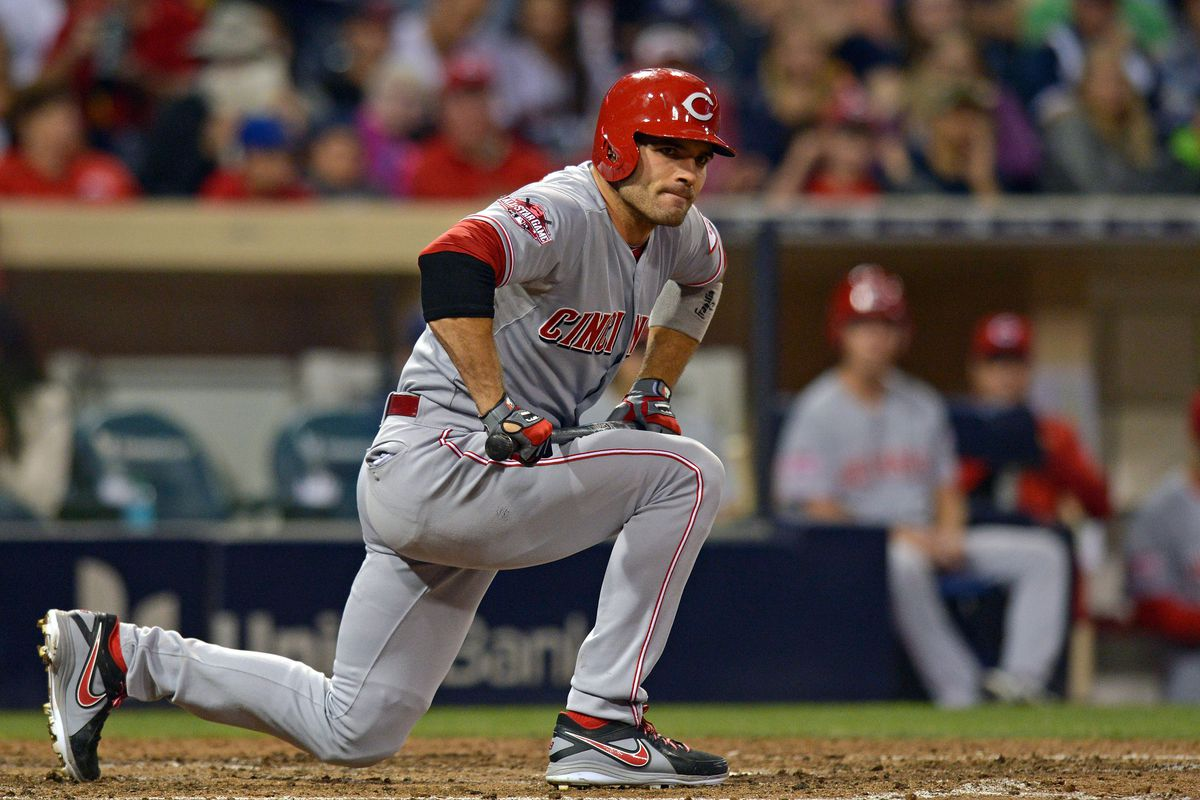 Joey Votto, on one knee, will likely out-perform other Reds against Greinke.