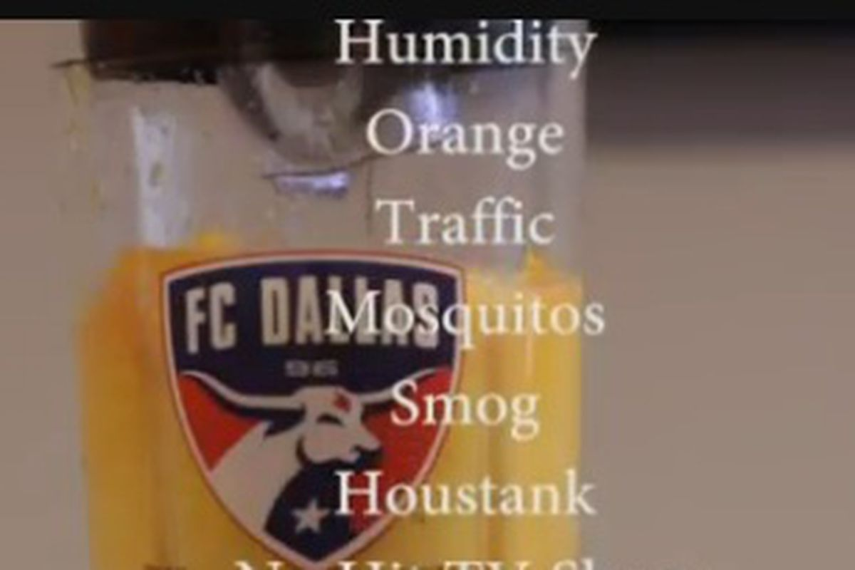 Screen cap from the FC Dallas video to 'rile' up Houston fans.