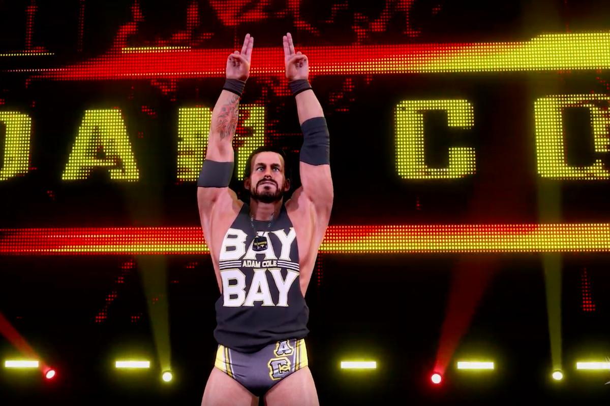 A wrestler celebrates his entrance into the arena.