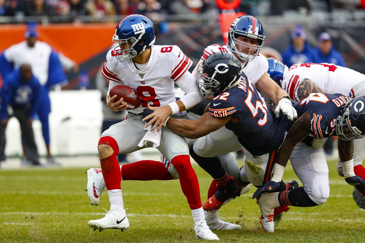 Bears linebacker Khalil Mack (52, sacking Giants quarterback Daniel Jones on Nov. 24 at Soldier Field) has two sacks in his last eight games. But he is geared up for a big finish as the Bears attempt to keep their faint playoff hopes alive against the Cowboys on Thursday night at Soldier Field.