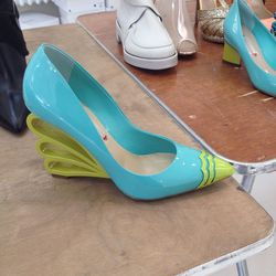 Two-toned patent shoes, $250