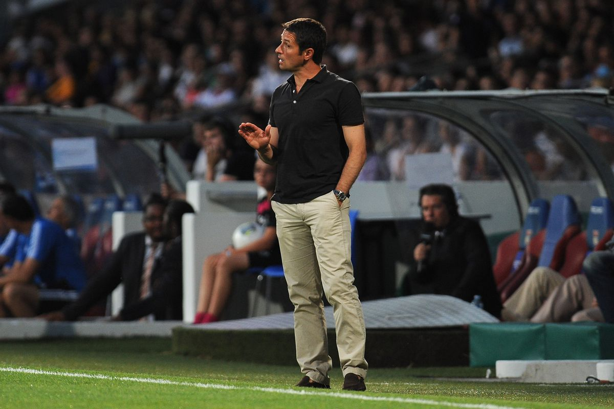 Rémi Garde, shown managing Lyon in 2013, has been linked with the Villa job. He doesn't have experience, but if he's willing to commit to Villa's future, he could be the right man for the job.