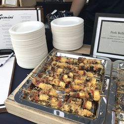 Pork Belly Skewers by Gemini Restaurant at the Green City market Chef BBQ. | Sun-Times Staff