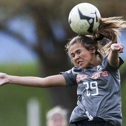 Murray's Kyah Karr (29) takes the header on a ball during the first half of a 5A quarterfinal girls soccer match at Murray Park in Murray on Thursday, Oct. 17, 2019. Mountain View won the match 3-2.