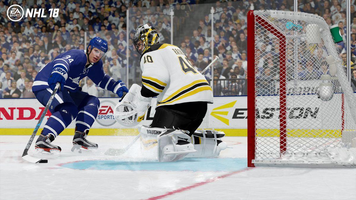 NHL 18 - Auston Matthews slides the puck past Tuukka Rask