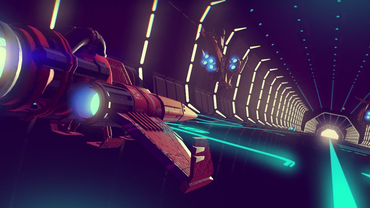 No Man's Sky - planes flying out of a space station's docking bay
