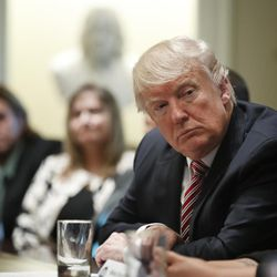 """President Donald Trump meets with what the White House identifies as """"immigration crime victims"""" to urge passage of House legislation to save American lives, Wednesday, June 28, 2017, in the Cabinet Room at the White House in Washington."""