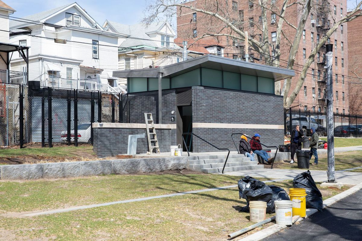 A public. bathroom in Aqueduct Walk near 182nd St. in the Bronx cost $1 million to construct, March 27, 2019.
