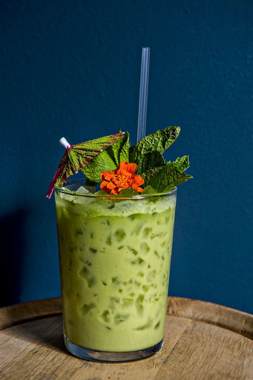 The Grande Macha-Colada with aged rum, white rum, coconut cream, pineapple and matcha green tea.