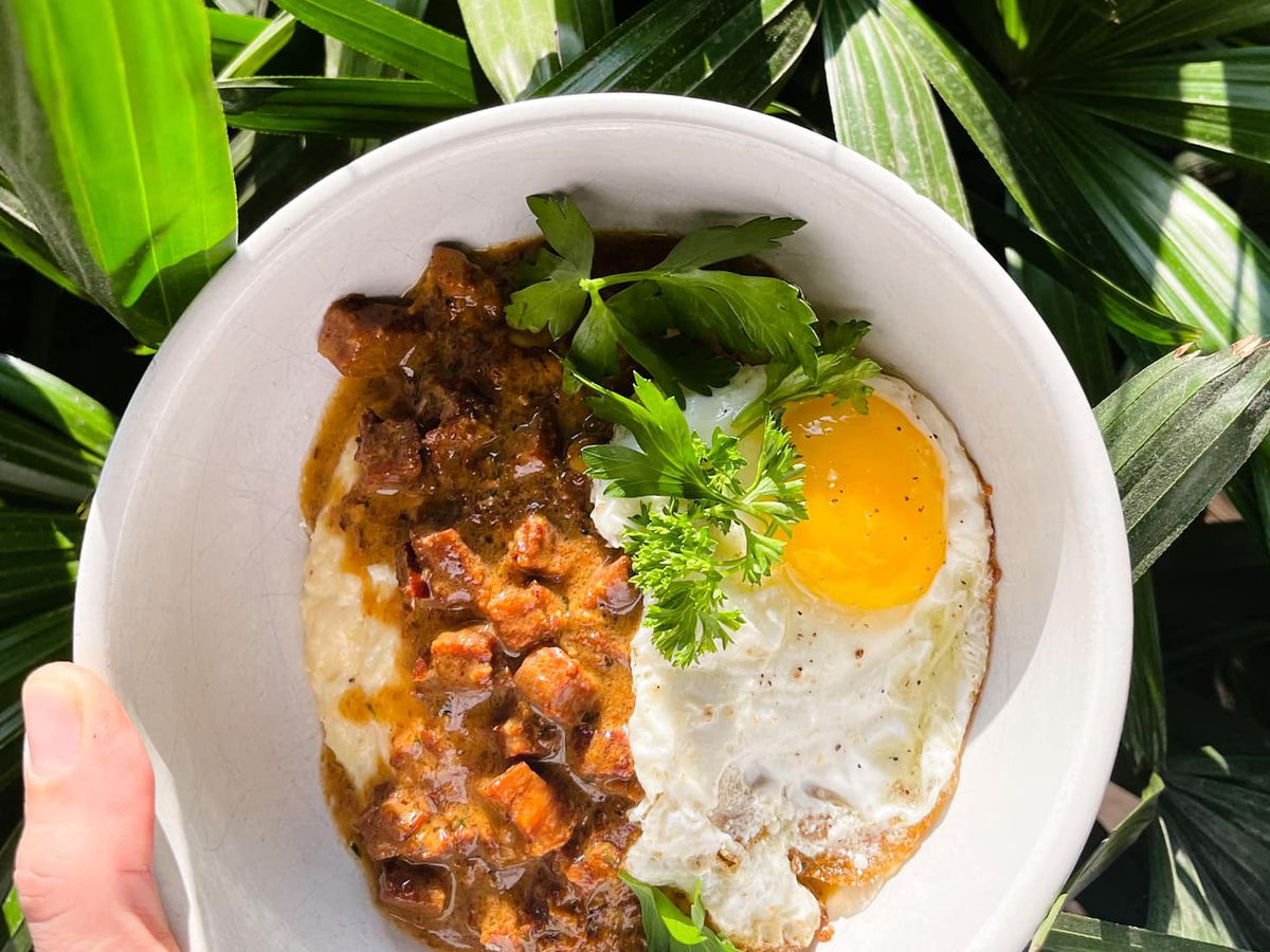 a hand holding a white bowl of polenta grits topped with meaty gravy and a fried egg. behind the bowl are the leaves of a palm tree