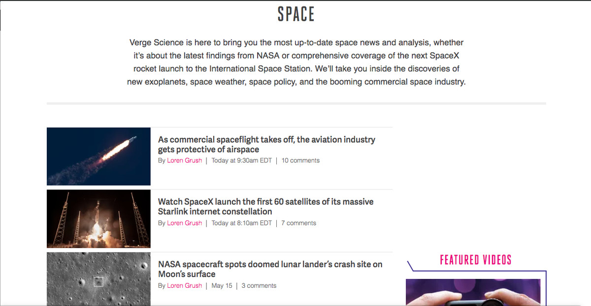 Verge space launches