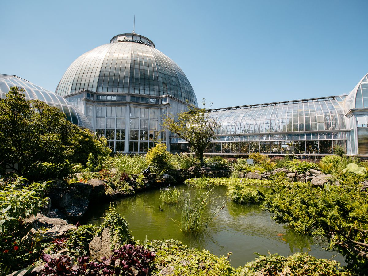 The Anna Scripps Conservatory on a sunny day in Detroit on Belle Isle.
