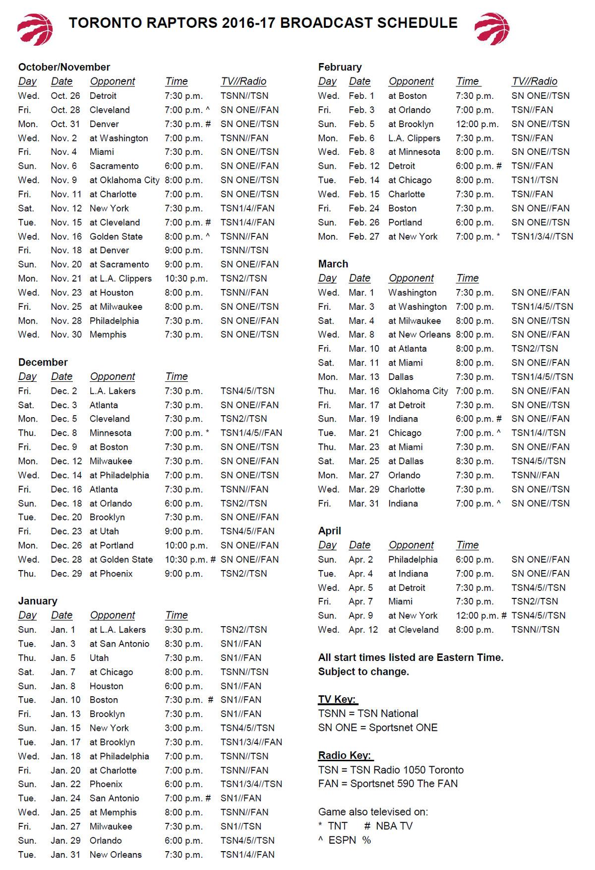 Raptors Schedule