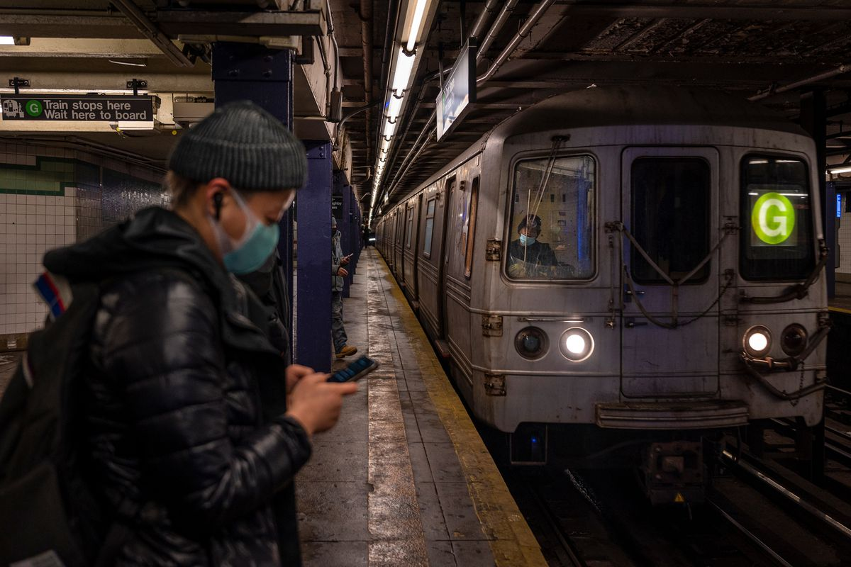 A G train rolls into the Court Square station in Queens, Feb. 19, 2021.