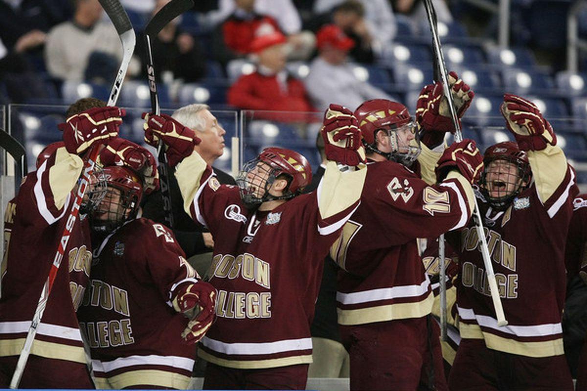 Boston College hockey Frozen Four celebration stock photo. (Photo by Elsa/Getty Images)