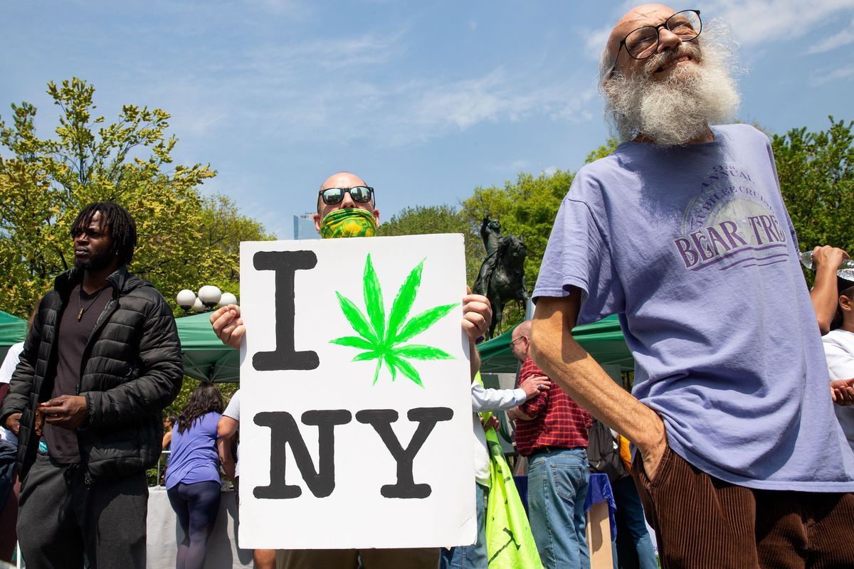 Hundreds of people packed into Union Square for a rally advocating the legalization of recreational marijuana use on May 4, 2019.