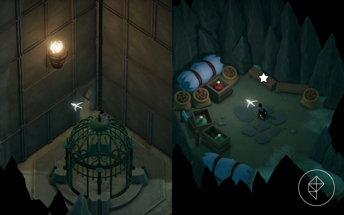 A split image showing a large bird cage elevator with a keyhole behind it on the left and a storage room with food on the right, showing where to find the Shiny Medallion.