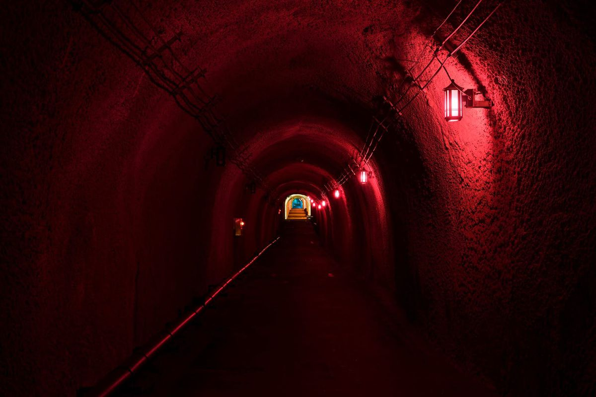 Tunnel glowing with red light