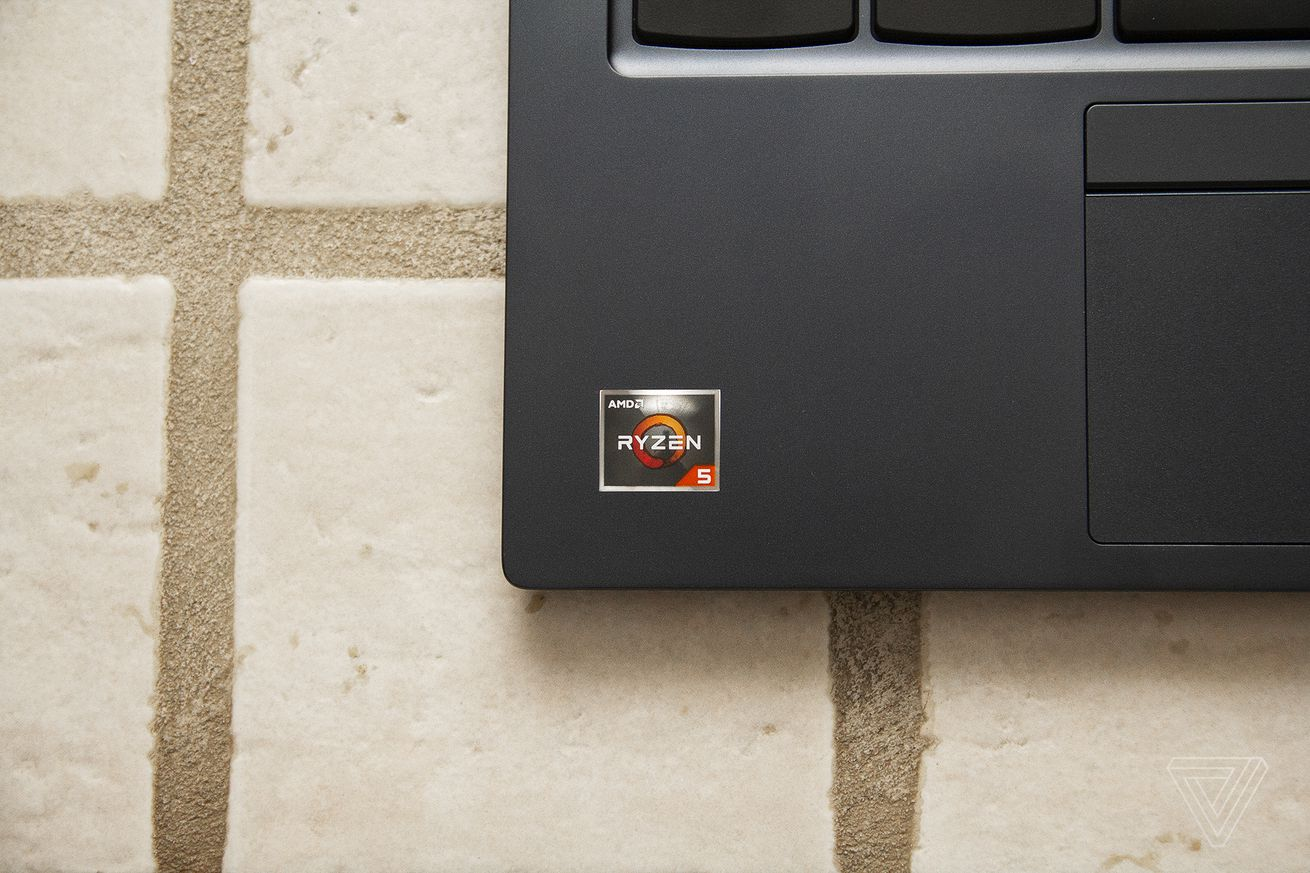The AMD Ryzen 5 sticker on the bottom left corner of the ThinkPad C13 Yoga Chromebook.