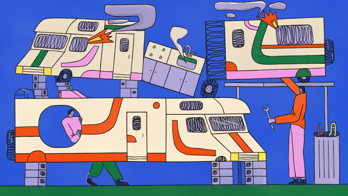 Illustration of three recreational vehicles being repaired.
