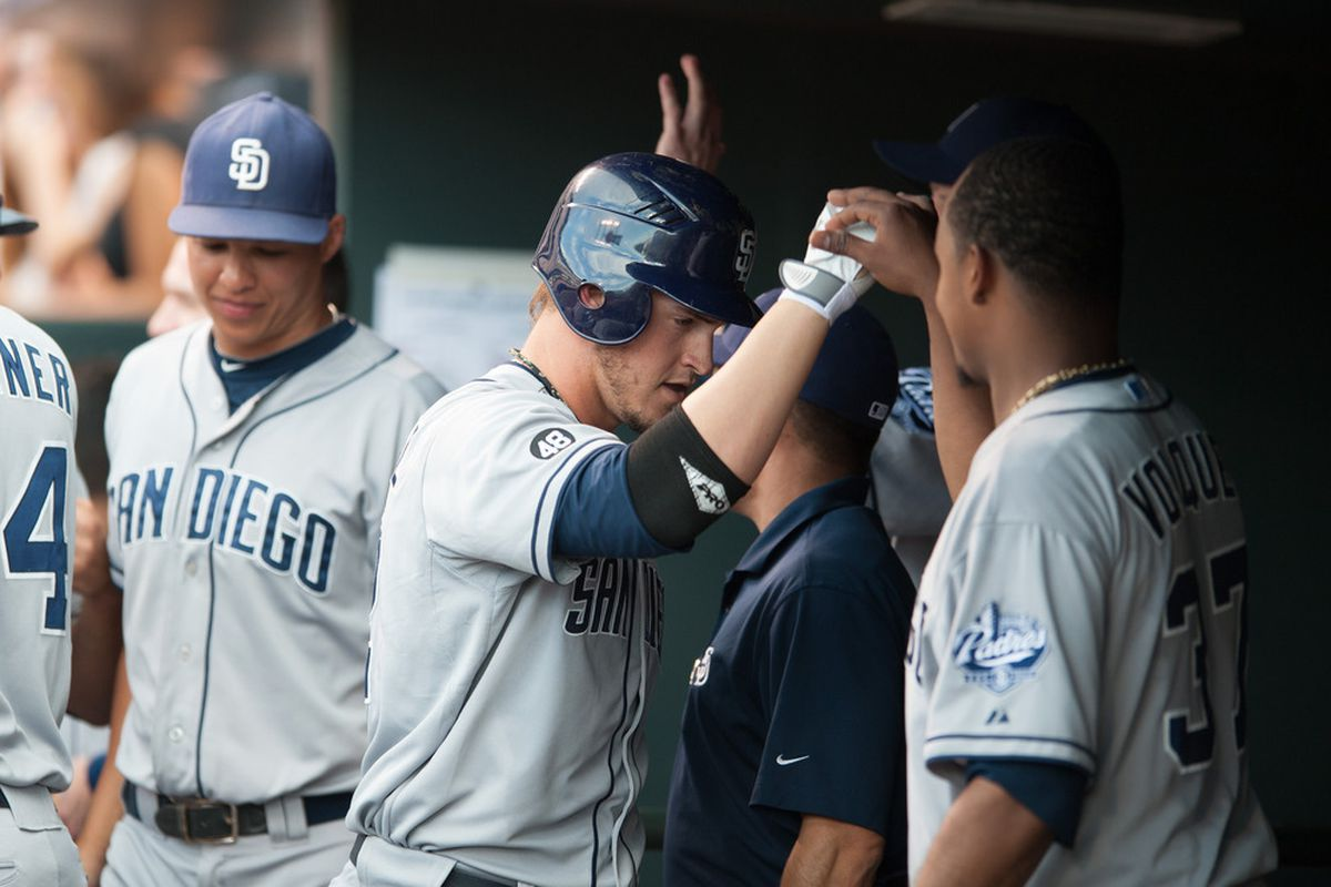 Yasmani Grandal and Edinson Volquez will be among four of the five pieces involved in the Mat Latos trade who will be in the starting lineups for the Padres and Reds tonight.
