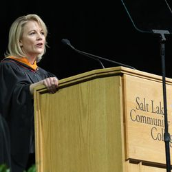 Gretchen W. McClain gives the keynote address during Salt Lake Community College's commencement ceremony at the Maverik Center in West Valley City on Friday, May 6, 2016.
