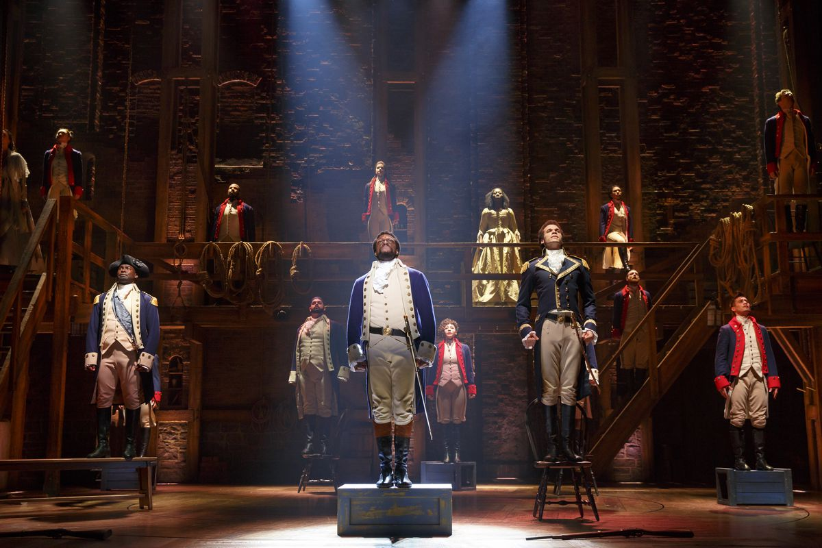 """The cast of the touring production of """"Hamilton"""" during a recent performance."""