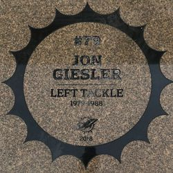 John Giesler granite stone in the Miami Dolphins Walk of Fame after being unveiled on December 2, 2018 in a ceremony in the Joe Robbie Alumni Plaza at Hard Rock Stadium, Miami Gardens, Florida.