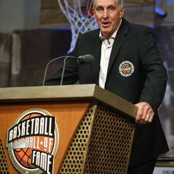Utah Jazz head coach Jerry Sloan makes a statement during a media availability before his enshrinement in the Basketball Hall of Fame in Springfield, Mass., Friday morning, Sept. 11, 2009.