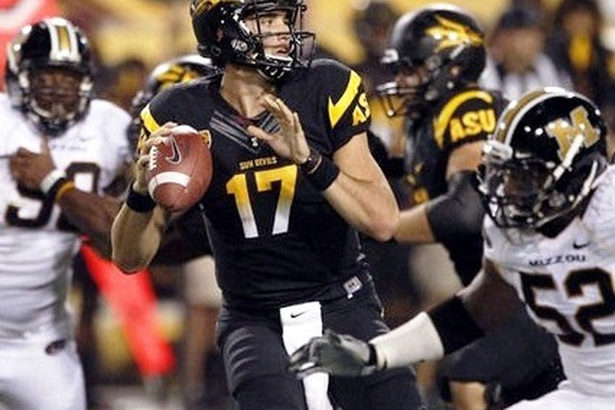 Brock Osweiler will lead Arizona St. Saturday night in their quest for the Sun Devils' first win in their last 4 tries against Oregon St.  (Photo via AZ Central)