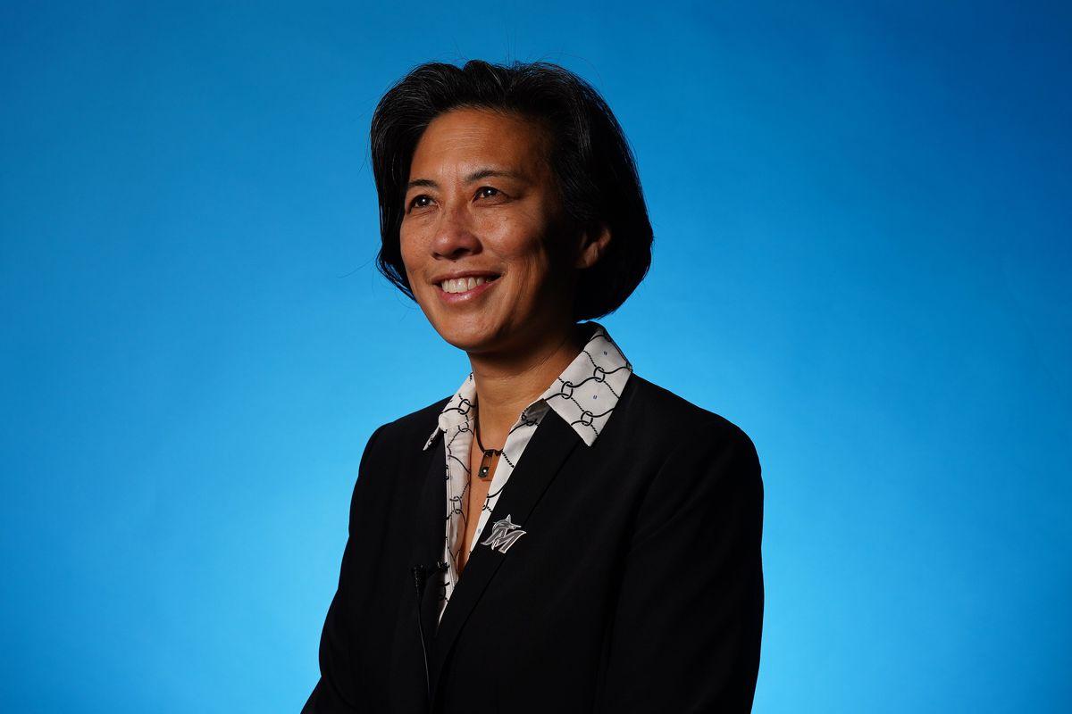 Miami Marlins general manager Kim Ng poses for a photo at Marlins Park.