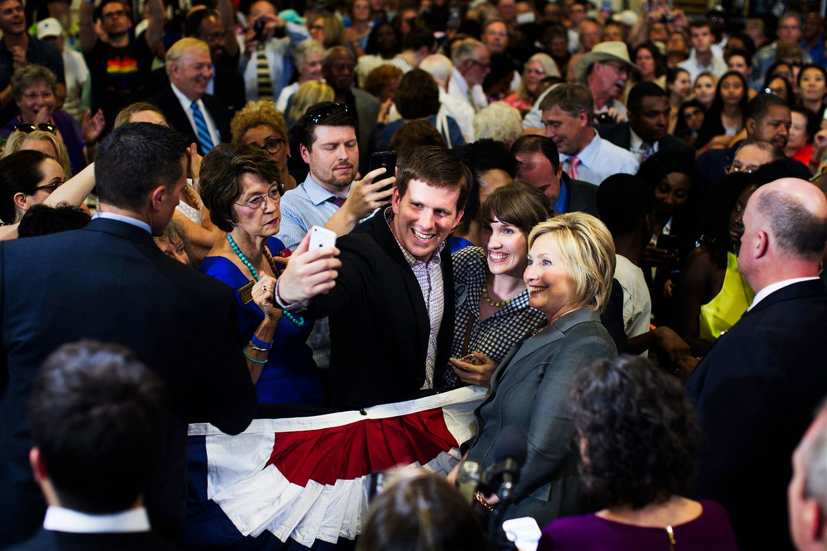 Hillary Clinton taking a selfie at a campaign event in Raleigh, North Carolina.