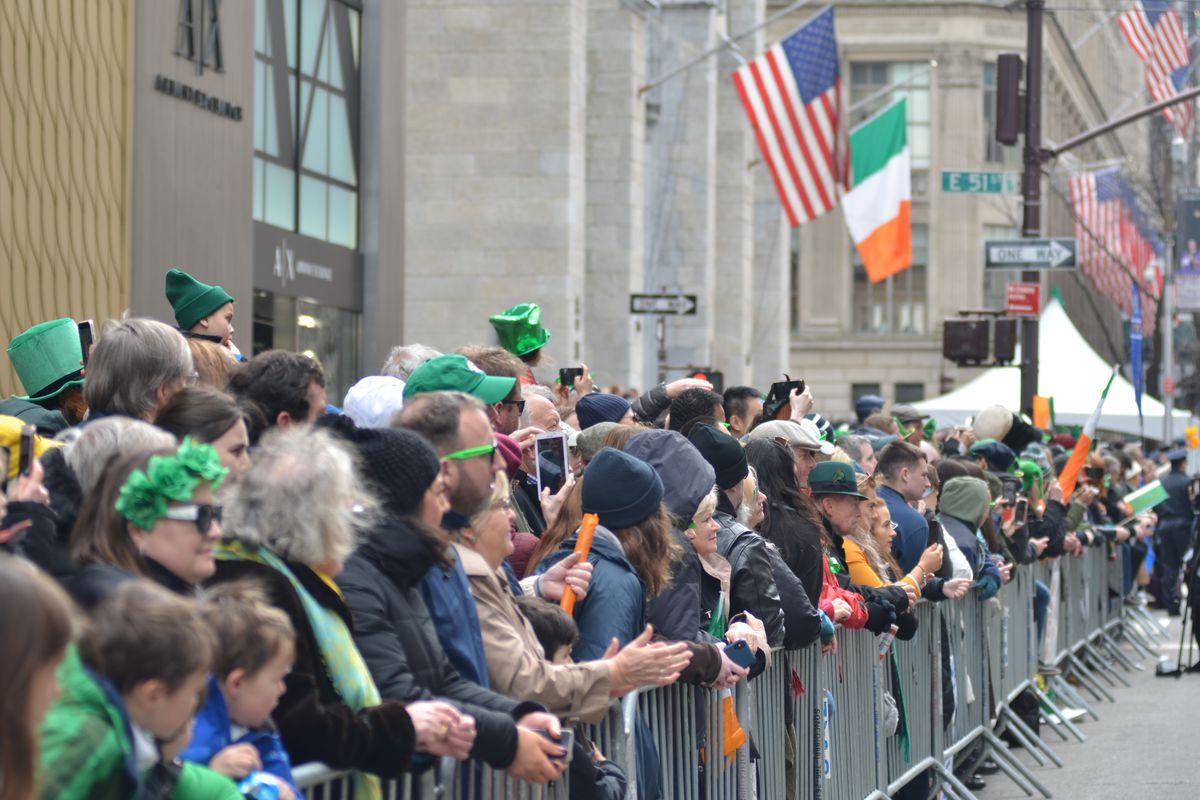 Thousands of people lined up on Fifth Avenue, watching last year's St. Patrick's Day Parade