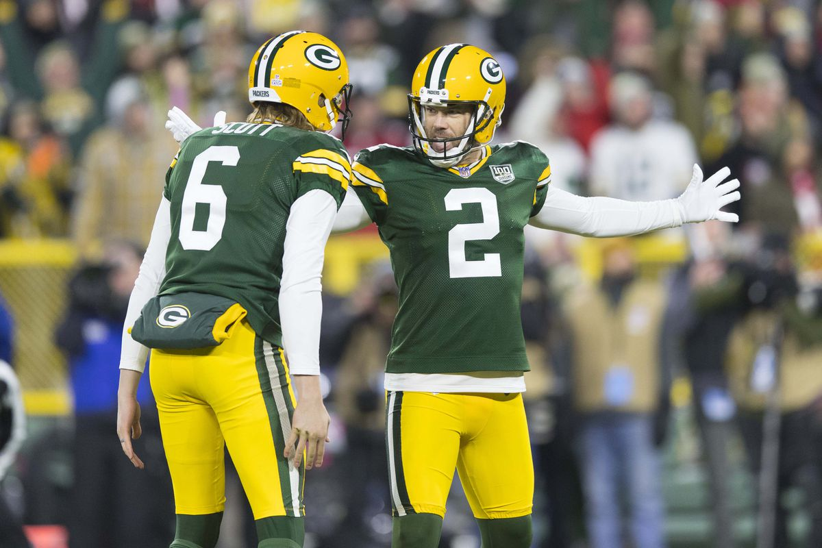 Green Bay Packers kicker Mason Crosby celebrates after making the game winning field goal during the fourth quarter against the San Francisco 49ers at Lambeau Field.