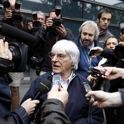 Formula One boss Bernie Ecclestone speaks to media after a meeting with team principals between practice sessions for the Chinese Formula One Grand Prix in Shanghai, Friday, April 13, 2012.