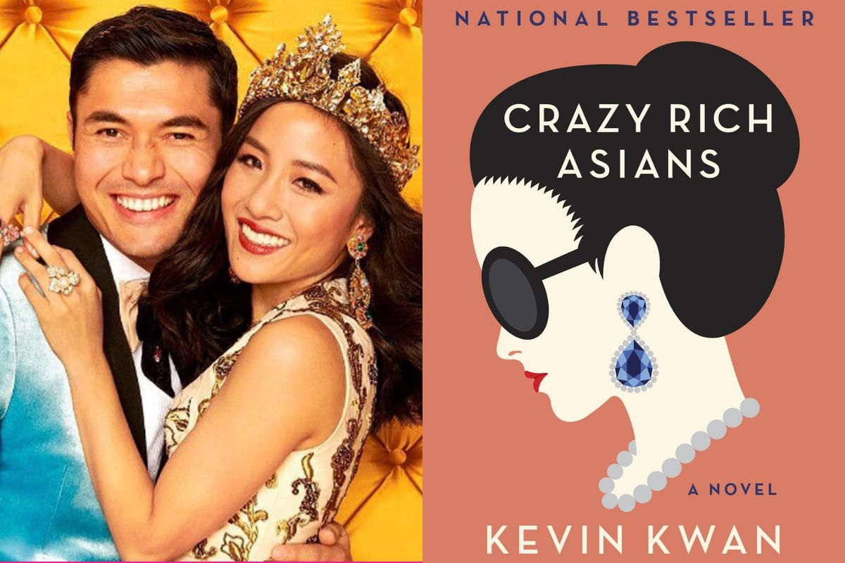 Constance Wu and Henry Golding, stars of Crazy Rich Asians, and the cover of Kevin Kwan's novel