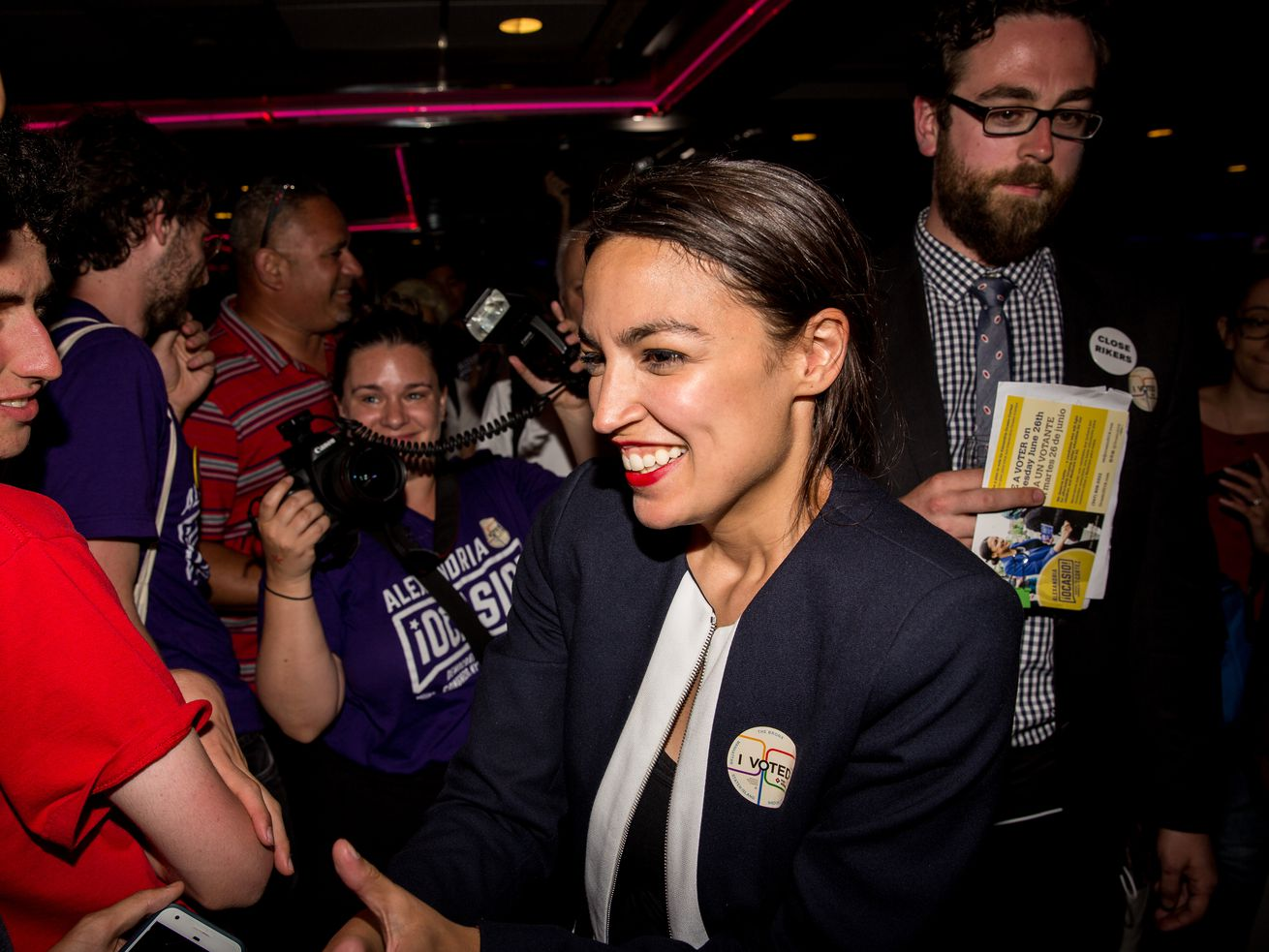 Democratic socialist Alexandria Ocasio-Cortez celebrates her win against Joe Crowley in the Democratic primary for the 14th Congressional District.