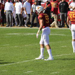 Two Iowa high school products, Zach Petersen (55, North Scott) and Jake Hummel (35, Dowling Catholic) await the kick.