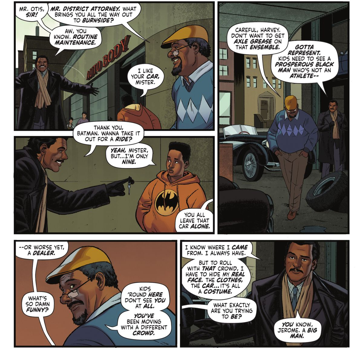 Harvey Dent visits his old neighborhood to ask for help in Batman '89 #1 (2021).