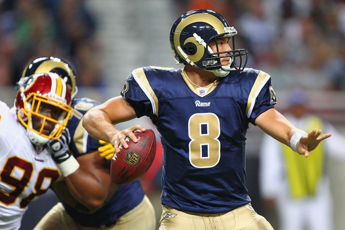 ST. LOUIS - SEPTEMBER 26: Sam Bradford #8 of the St. Louis Rams passes against the Washington Redskins at the Edward Jones Dome on September 26 2010 in St. Louis Missouri.  The Rams beat the Redskins 30-16.  (Photo by Dilip Vishwanat/Getty Images)
