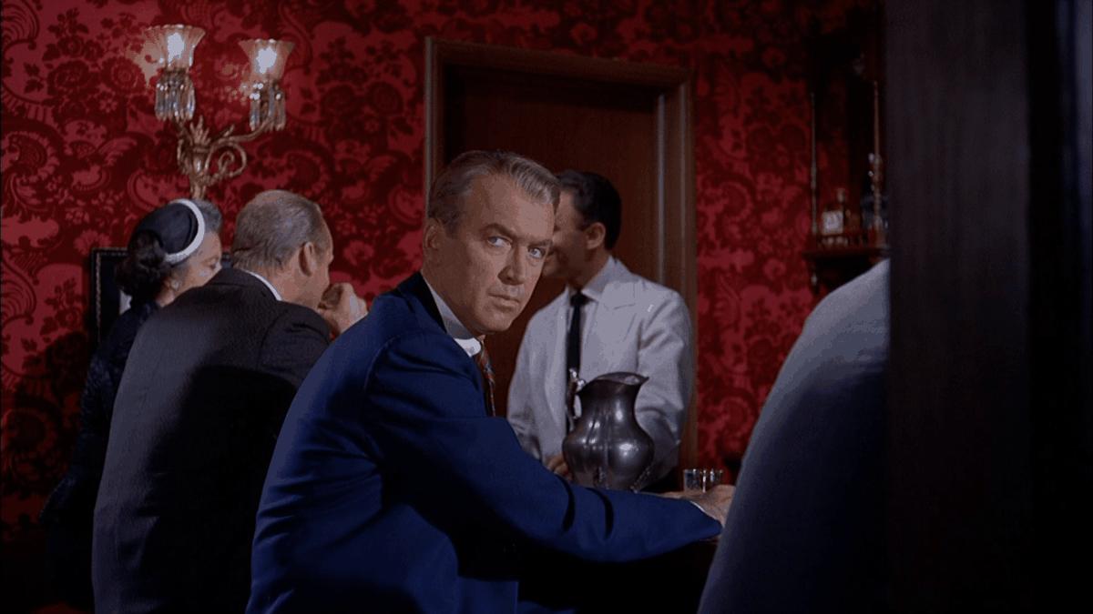 """James Stewart as retired police detective John """"Scottie"""" Ferguson in Vertigo"""