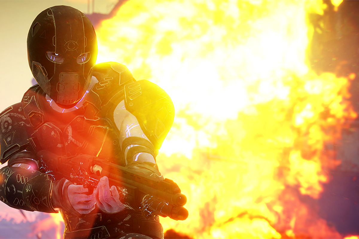 A Rage 2 character with a gun in front of fire